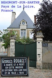 Photograph of house in Beaumont sur Sarthe, Pays De La Loire, France, claiming Georges Rouault to have lived there.