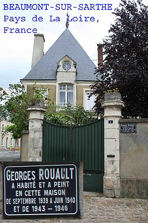 Georges Rouault - Photograph of house in Beaumont sur Sarthe, Pays De La Loire, France, claiming Georges Rouault to have lived there