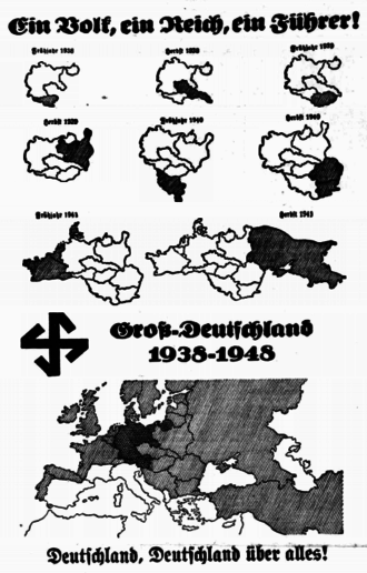 Pan-Germanism - Map showing Nazi German plans, given to Sudeten Germans during the Sudeten Crisis as part of an intimidation process. Re-published in the British socialist newspaper Daily Worker on 29 October 1938.