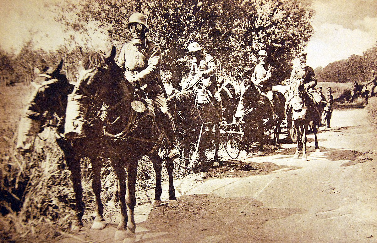 German Troops with Horses and Gas Masks