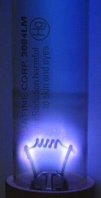 Germicidal UV discharge tube glow