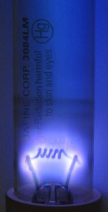 Germicidal UV discharge tube glow.jpg