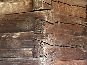 Dovetail joint - Dovetailed woodworking joints on a Romanian church.