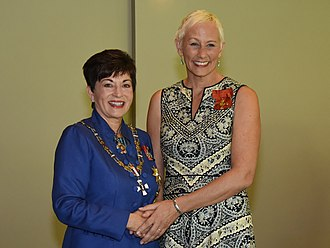 Leanne Pooley - Pooley (right), after her investiture as an Officer of the New Zealand Order of Merit by the governor-general, Dame Patsy Reddy in April 2017