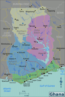 Ghana Regions map