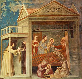 Nativity of Mary - The Birth of the Blessed Virgin Mary by Giotto, in the Scrovegni Chapel Padua, Italy (circa 1305)