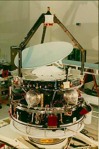 Giotto (spacecraft) - An image of the Giotto spacecraft during construction