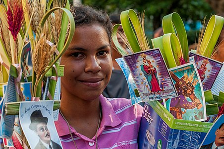 girl selling for Palm Sunday