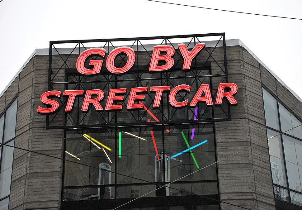 Go by Streetcar sign - Portland Oregon