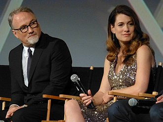Gone Girl (film) - David Fincher and Gillian Flynn at the film's premiere at the 52nd New York Film Festival.