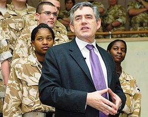 Gordon Brown - Gordon Brown meets British troops during a visit to Basra, 2007