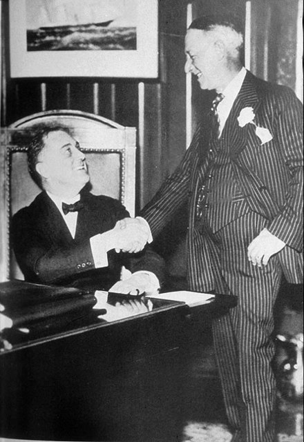 Gov. Roosevelt with his predecessor Al Smith, 1930