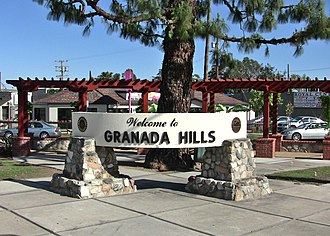 Granada Hills, Los Angeles - A welcome sign at Chatsworth Street and Zelzah Avenue