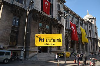 PTT (Turkey) - Grand Post Office building in Istanbul celebrating the 174th anniversary of foundation.