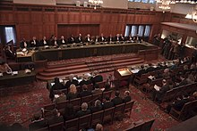 A sitting of the International Court of Justice in the Grand Hall of Justice at The Hague.