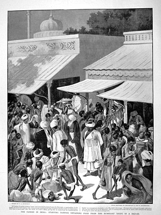 "Indian famine of 1896–97 - Drawing, titled ""Famine in India,"" from The Graphic, February 27, 1897, showing a bazaar scene in India with shoppers, many of whom are emaciated, buying grain from a merchant's shop."
