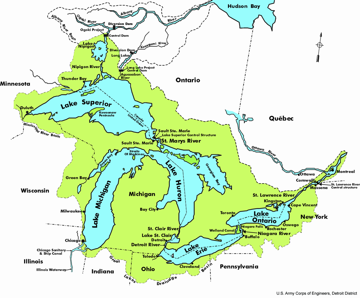 Great Lakes Simple English Wikipedia The Free Encyclopedia - Us map lakes and rivers