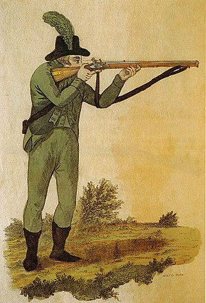 Rifleman - Green jacketed British Army rifleman aiming a Baker rifle, c. 1803