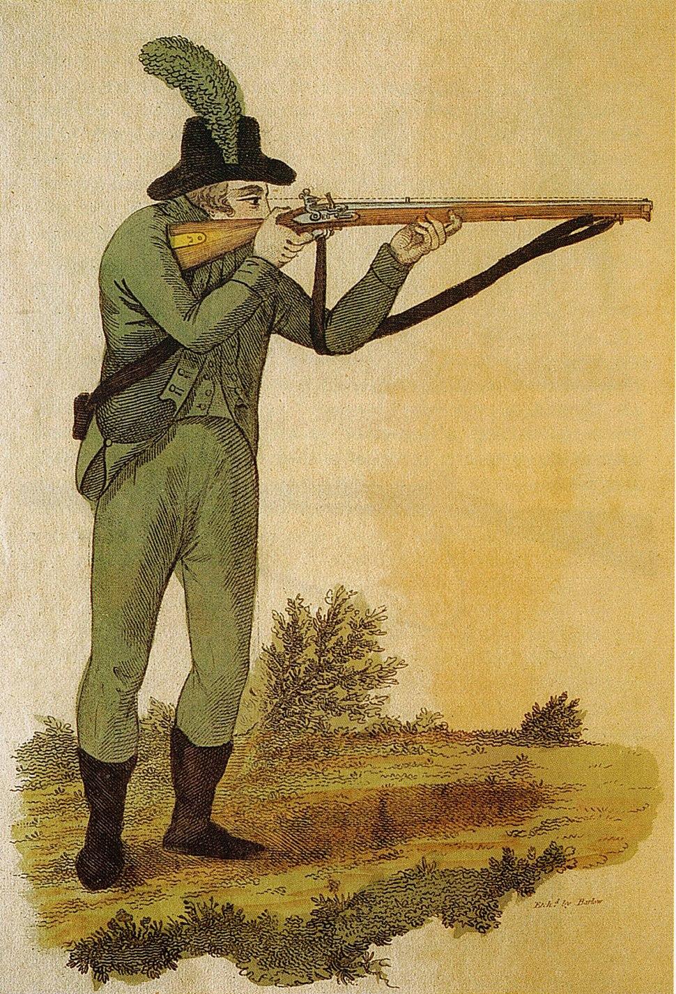 Green jacketed rifleman firing Baker rifle 1803
