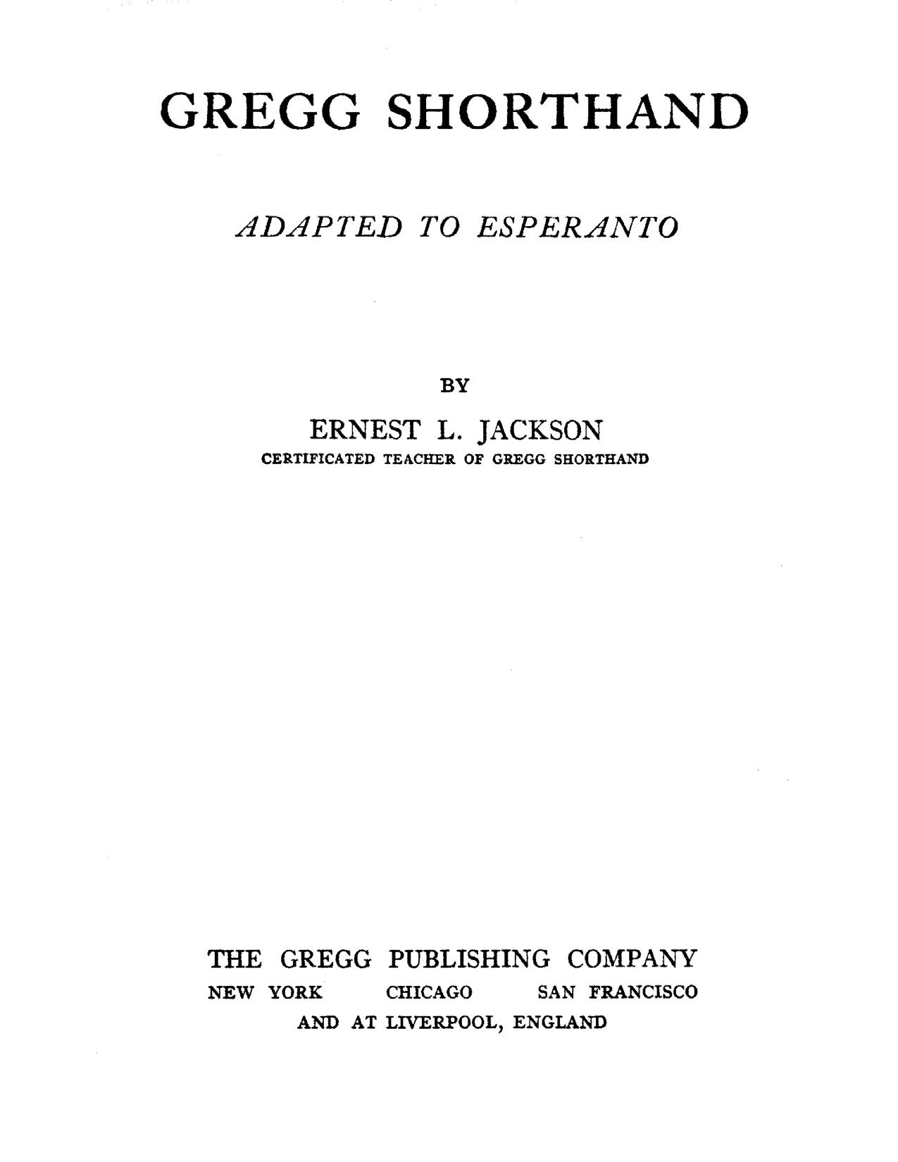 Archivogregg Shorthand Adapted To Esperantopdf Wikivisually