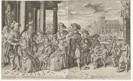 Groepsportret van Frederik Hendrik, Frederik V van Bohemen en Ernst Casimir, met hun vrouwen en kinderen, 1627, RP-P-OB-81.345