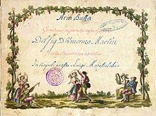 Arie aus Lacapricciosa corretta, in der Ciprigna ihre Schönheit besingt[51], Neapel 1798. (Quelle: Wikimedia)