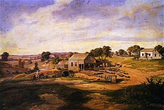History of Fredericksburg, Texas - Guenther's Mill on Live Oak Creek painted in 1855 by Hermann Lungkwitz