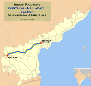 Nallapadu–Nandyal section - Image: Guntakal Guntur route