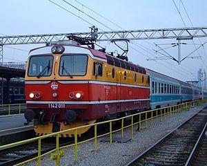 InterCity - HŽ series 1142 locomotive hauling an InterCity train at the Zagreb Main Station