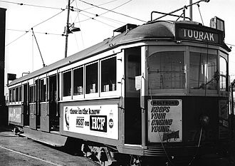 HCF Health Insurance - A Victorian Tram with HCF's ad in 1969 - just before it closing its business in Victoria in 1970, as a result of introducing National Health Act 1970 by the commonwealth government.