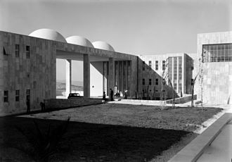 Hadassah Medical Center - Photo of the Mount Scopus campus from the 1930s showing the courtyard and domes