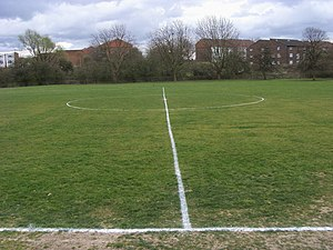 Halfway Line Halfway Line on football pitch on...