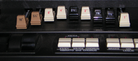 The drawbars of the Hammond organ