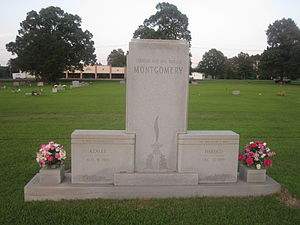 """Harold Montgomery - Harold Montgomery's grave monument reads, """"He Told It Like It Was""""."""