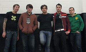 Hawthorne Heights - Hawthorne Heights at the University of Scranton in 2007. From left to right: Casey Calvert, JT Woodruff, Micah Carli, Eron Bucciarelli, and Matt Ridenour