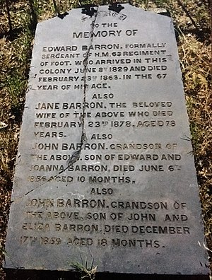 Edward Hugh Barron - Headstone of Edward and Jane Barron in East Perth Cemeteries