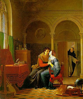 "Peter Abelard - ""Abaelardus and Heloïse surprised by Master Fulbert"", by Romanticist painter Jean Vignaud (1819)"