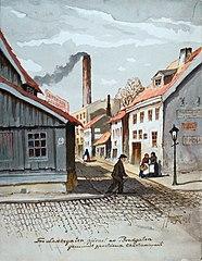 Fra Lakkegaten, hjörnet av Bredgaten / gammelt gjenstående Christianiaparti.