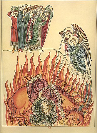 Whore of Babylon - The whore of Babylon as illustrated in Hortus deliciarum by Herrad of Landsberg, 1180.