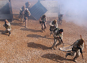 Iraq spring fighting of 2008 - The Hillah SWAT Team in training in 2006. The unit was redeployed to Basra following operations in al-Kut and Hillah. On 1 April, they detained 20 vehicle smugglers in Basra.