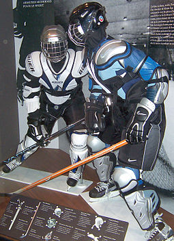 Models with the protective equipment worn by ice hockey skaters; such as a helmet, shoulder pads, elbow pads, gloves, hockey pants, and shin guards. Hockey equipment rom.jpg