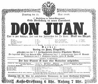 Vienna State Opera - Play bill for the opening performance of the new Opernhaus, announcing the opening performance of Don Giovanni on May 25, 1869