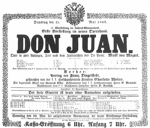 Play bill for the opening performance of the new Opernhaus, announcing the opening performance of Don Giovanni on May 25, 1869 Hofoper 1869-05-25 Don-Juan.jpg