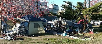 Tent city - A homeless camp in Oakland, California, near Laney College campus.