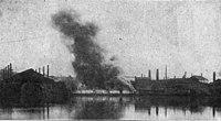 Homestead strike burning barges