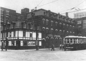 510 Spadina - A Peter Witt streetcar on the original line, beside the Spadina Hotel on King St.