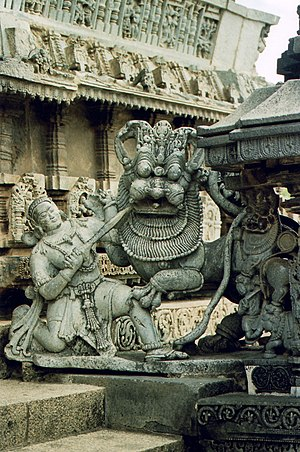 Hoysala Empire - Sala fighting the Lion, the emblem of the Hoysala Empire at Belur, Karnataka