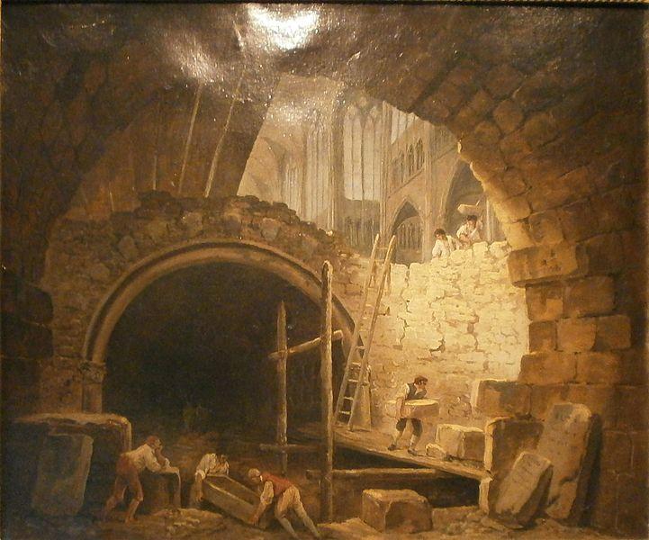 Fichier:Hubert Robert - La Violation des caveaux des rois dans la basilique de Saint-Denis.jpg