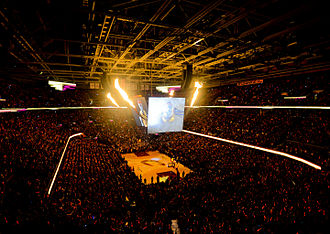 Quicken Loans Arena - The scoreboard with flames during player introductions in 2014