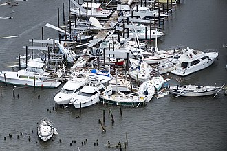 Hurricane Harvey - Damage by Harvey to a marina in Rockport, Texas, on August 28, 2017